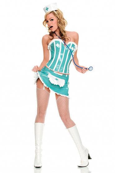 Leg Avenue Медсестра Из ПВХ бирюзового цвета