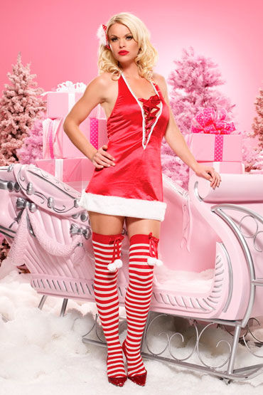Leg Avenue Санта, Красное атласное платье - Размер: SM