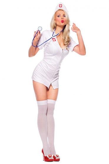 Leg Avenue Медсестра Коротенькое белое платье