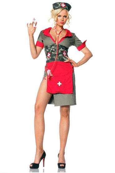 Leg Avenue Армейская медсестра Платье с шапочкой, передником и аксессуарами