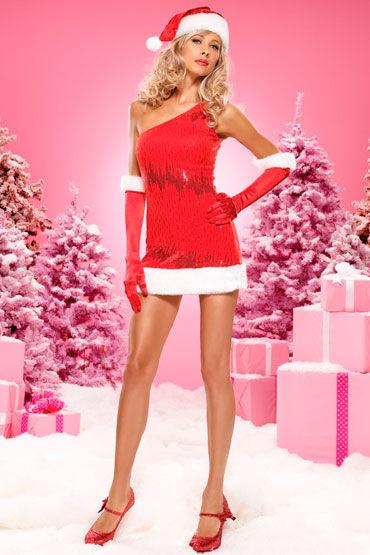 Leg Avenue Рождественская красавица Платье, расшитое пайетками, и шапочка