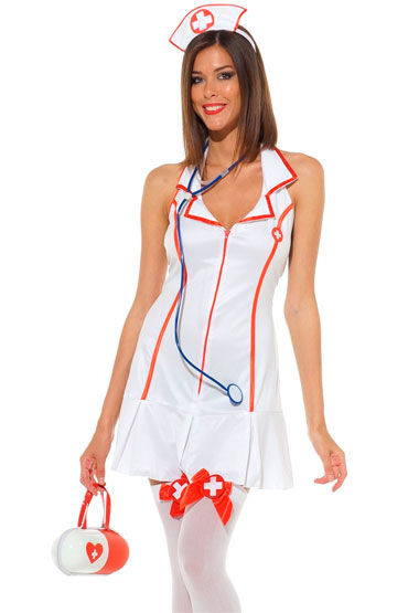 Leg Avenue Медсестра Белое мини-платье с чепчиком и стетоскопом