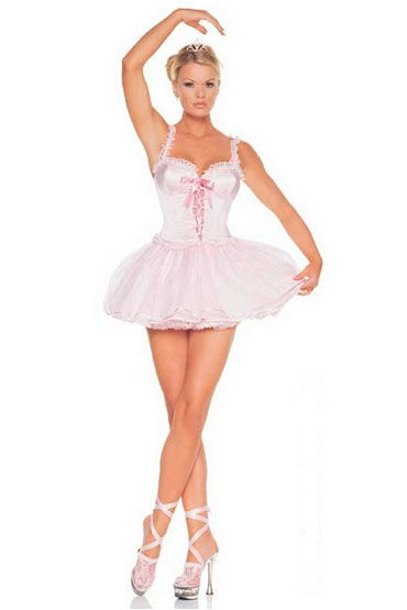 Leg Avenue Ballerina Милое розовое платье и носочки с лентами