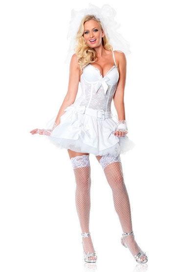 Leg Avenue Virgin Bride Коротенькое платье невесты с поясом и фатой