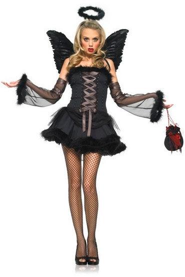 Leg Avenue Черный ангел Мини-платье со шнуровкой и нарукавники