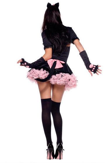 Leg Avenue Кошечка Черный,  с розовой отделкой