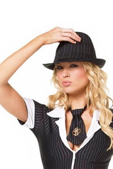 Leg Avenue гангстерская шляпа Черная, в полоску