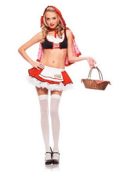 Leg Avenue Красная шапочка Короткий топ, мини-юбка и накидка с капюшоном