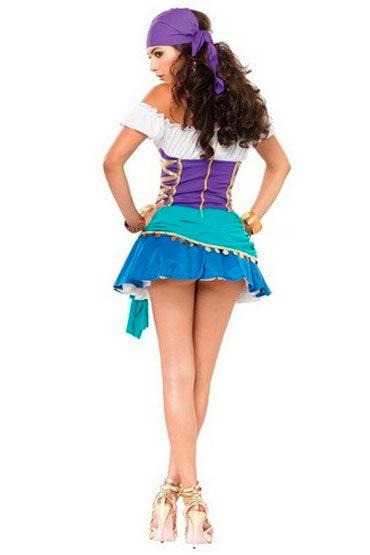 Leg Avenue Цыганская принцесса Яркое мини-платье и платок на голову