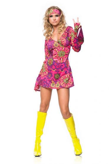 Leg Avenue Хиппи Яркое платье с повязкой на голову
