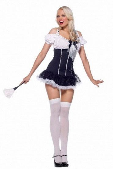 Leg Avenue Lady Maid Черно-белый, с щеточкой