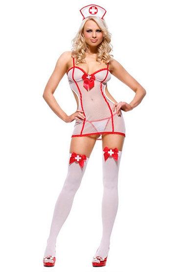 Leg Avenue Медсестра, Платье, стринги и чепчик - Размер Универсальный (XS-L)
