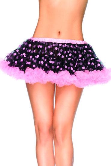 Leg Avenue мини-юбка, розовая Пышная, в горошек