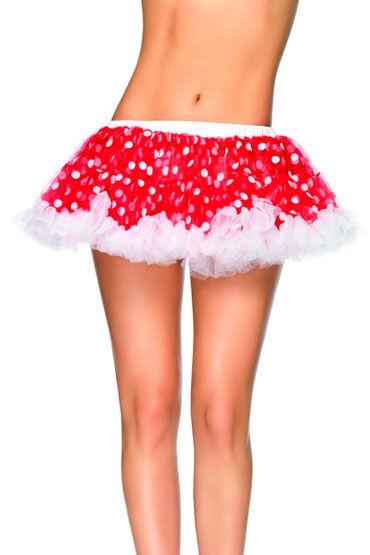 Leg Avenue мини-юбка, ярко-розовая Пышная, в горошек