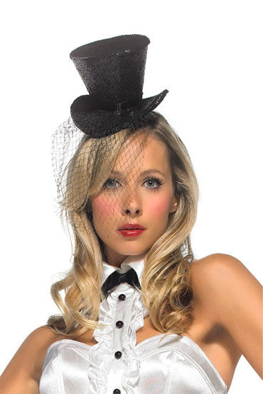Leg Avenue шляпка, черная С вуалью