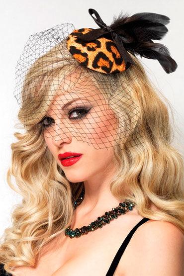 Leg Avenue украшение для волос С вуалью-сеточкой, перьями и бантиком