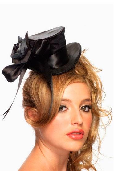 Leg Avenue шляпка, черная С бантиком и цветочком