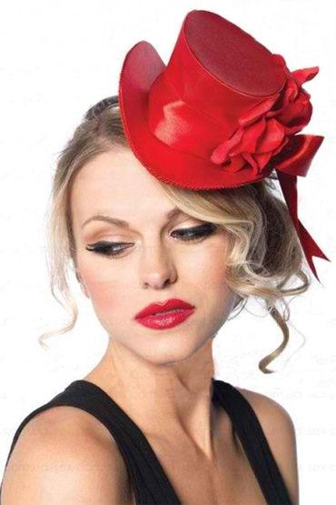 Leg Avenue шляпка, красная С бантиком и цветочком