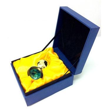 Butt Plug Gold Small, синий Малая анальная пробка, украшена кристаллом