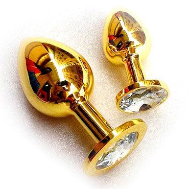 Butt Plug Gold Large, бриллиант Большая анальная пробка, украшена кристаллом