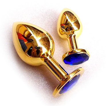 Butt Plug Gold Large, синий Большая анальная пробка, украшена кристаллом