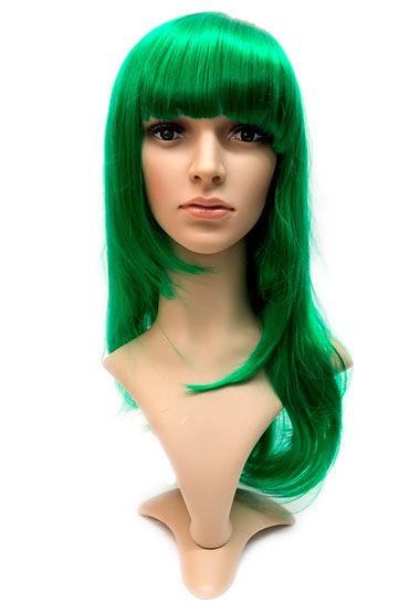 Courtney Wig, зеленый Прямые длинные волосы с челкой