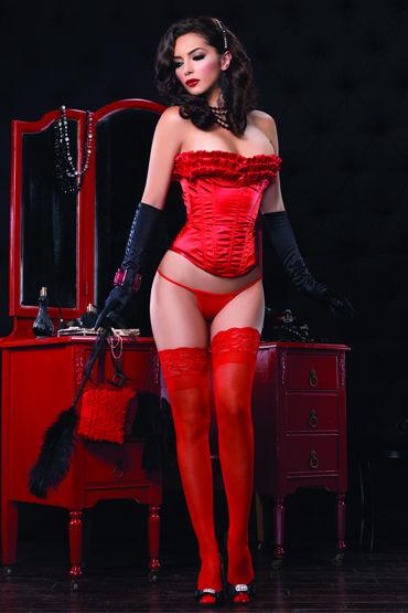 Leg Avenue корсет, красный Украшен очаровательными рюшами