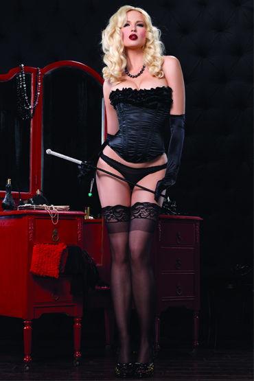 Leg Avenue корсет, черный Украшен очаровательными рюшами