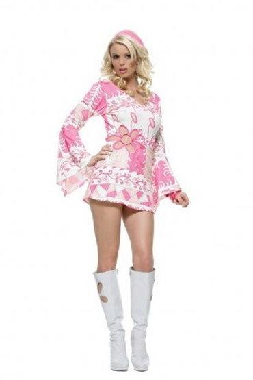 Leg Avenue RETRO GROOVE Розовое платье с повязкой на голову