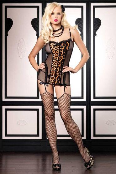 Leg Avenue мини-платье С леопардовой вставкой