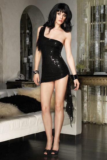 Leg Avenue мини-платье Блестящее, ассиметричное