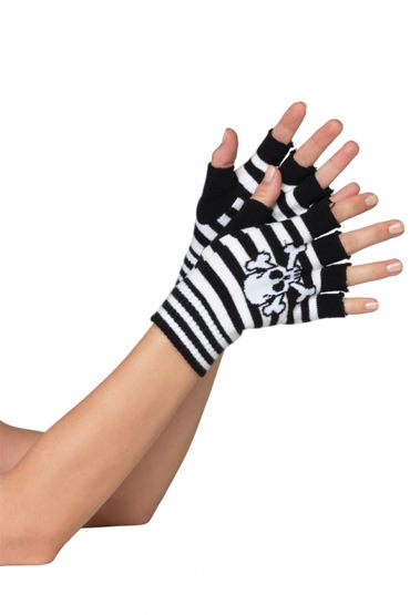 Leg Avenue перчатки, черно-розовые С черепом и открытыми пальчиками