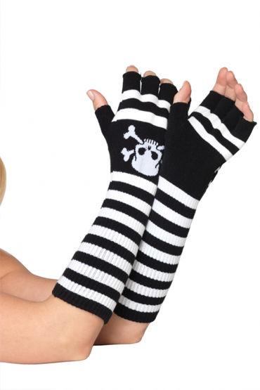 Leg Avenue перчатки, черно-красные Длинные, в полосочку