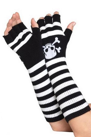 Leg Avenue перчатки, черно-белые Длинные, в полосочку