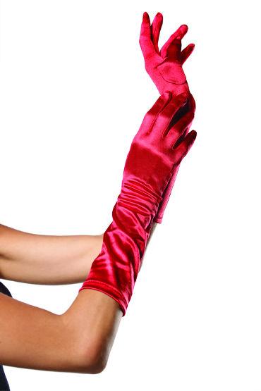 Leg Avenue перчатки, красные Атласные, до локтя