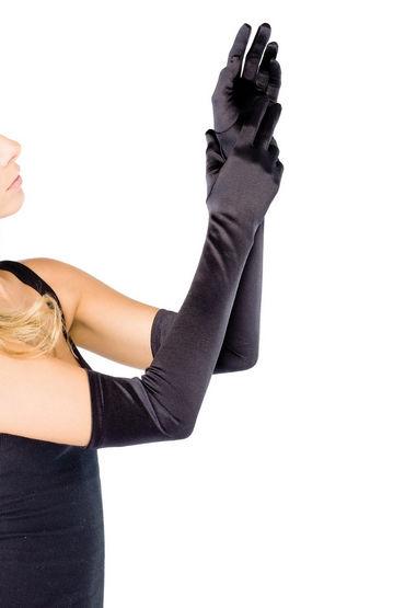 Leg Avenue перчатки, черные Атласные, выше локтя