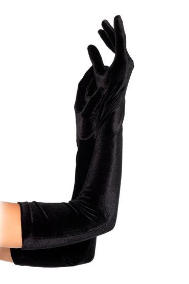 Leg Avenue перчатки Велюровые, черного цвета