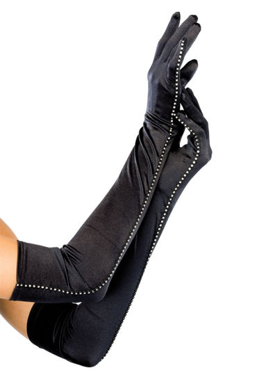 Leg Avenue перчатки, черные Длинные, со стразами