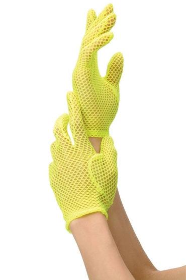 Leg Avenue перчатки, ярко-желтые В мелкую сетку