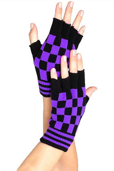 Leg Avenue перчатки, черно-фиолетовые Шахматной расцветки, акриловые