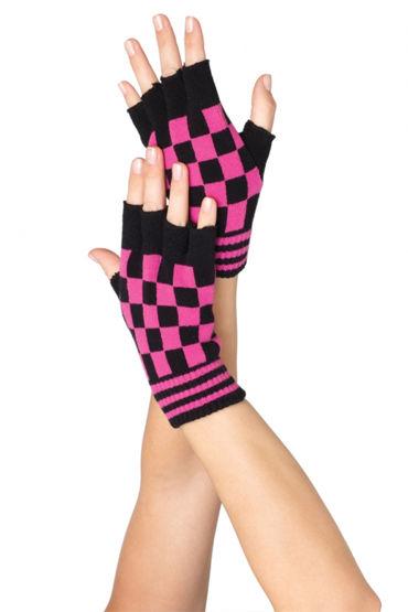 Leg Avenue перчатки, черно-розовые Шахматной расцветки, акриловые