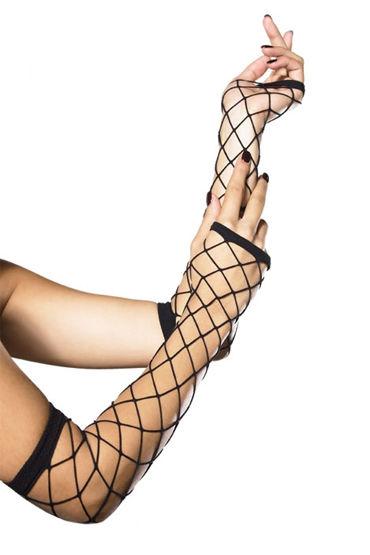 Leg Avenue перчатки, черные В крупную сетку