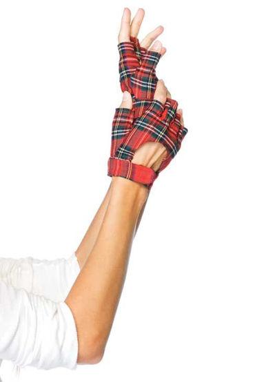 Leg Avenue перчатки В шотландскую клетку, на липучке