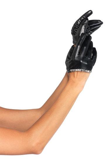 Leg Avenue перчатки Hard rock С серебристой отделкой