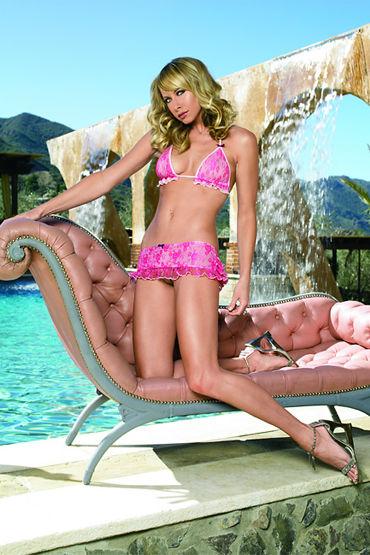 Leg Avenue комплект Розовый, с милыми рюшами