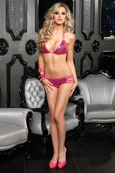 Leg Avenue комплект Розовый, из блестящей ткани