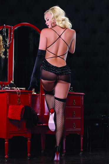 Leg Avenue пеньюар и стринги, черные Прозрачный, с открытой спиной