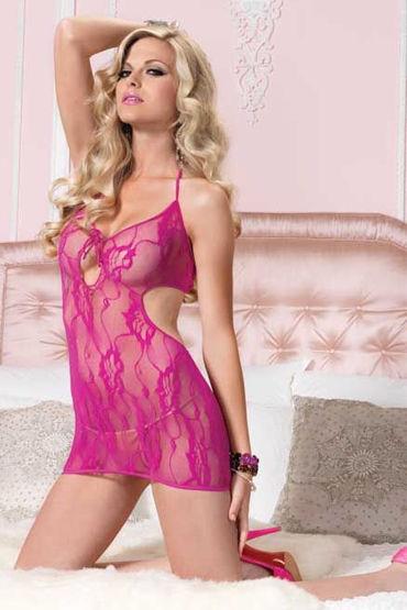 Leg Avenue платье и стринги, розовые С кружевным рисунком