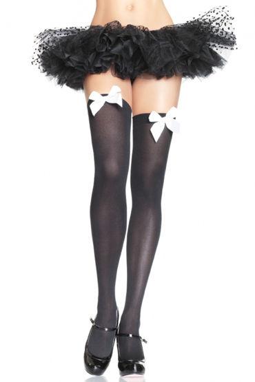 Leg Avenue чулки, белые, С милым черным бантом - С черным бантом - Размер: Универсальный