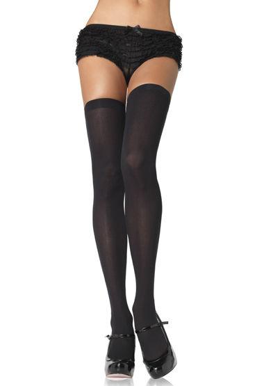 Leg Avenue чулки, черные, Непрозрачные - Размер Универсальный (XS-L) от condom-shop.ru